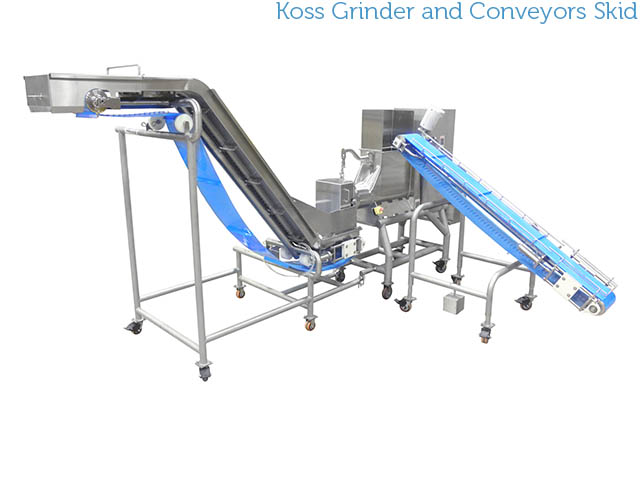 Koss Industrial stainless steel grinder with conveyors skidded system