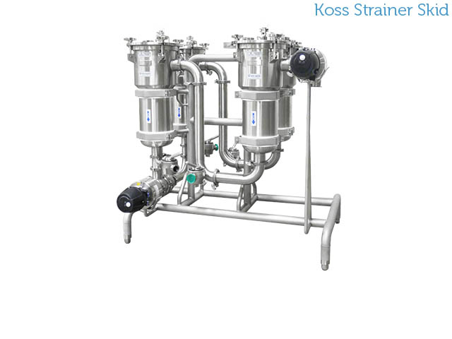 Koss Industrial stainless steel strainer skidded system